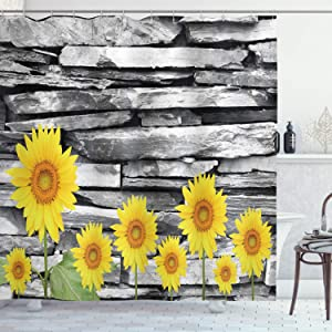 """Ambesonne Brick Wall Shower Curtain, Sunflowers with Leafs on Stone Wall Background Floral Urban Style Print, Cloth Fabric Bathroom Decor Set with Hooks, 75"""" Long, Yellow Green Grey"""