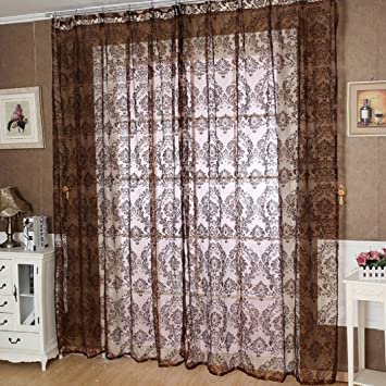 DZT1968® 1PC Brown Printed Flower Tulle Window Door Screen Curtain (40 Inch  X 80