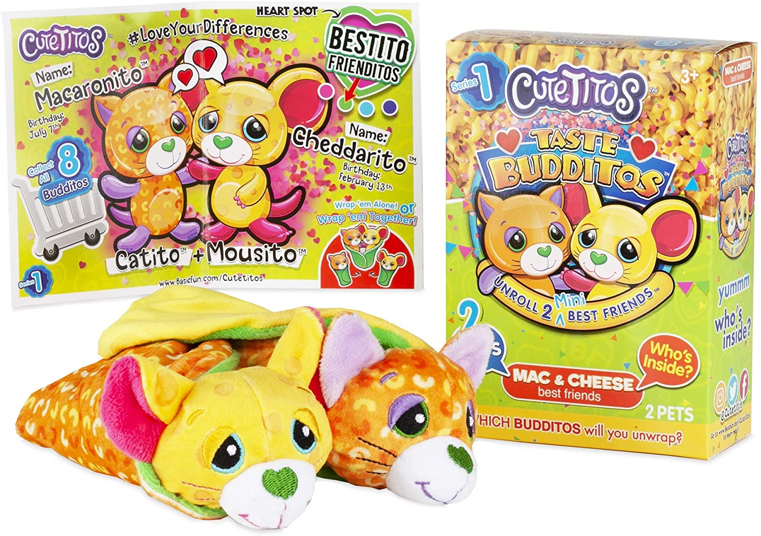 Basic Fun Cutetitos Taste Budditos Mac & Cheese - 2 Collectible Plush Mini Animals - Ages 3+ - Series 1 - Great Gift for Girls and Boys