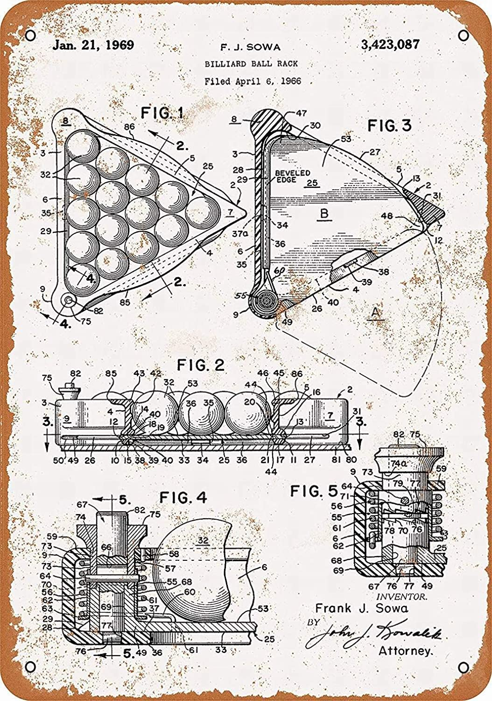 Wisesign Personalized Tin Sign Metal Signs 12 x 16 - Billiard Ball Rack Patent - Vintage Barative Wall Decor