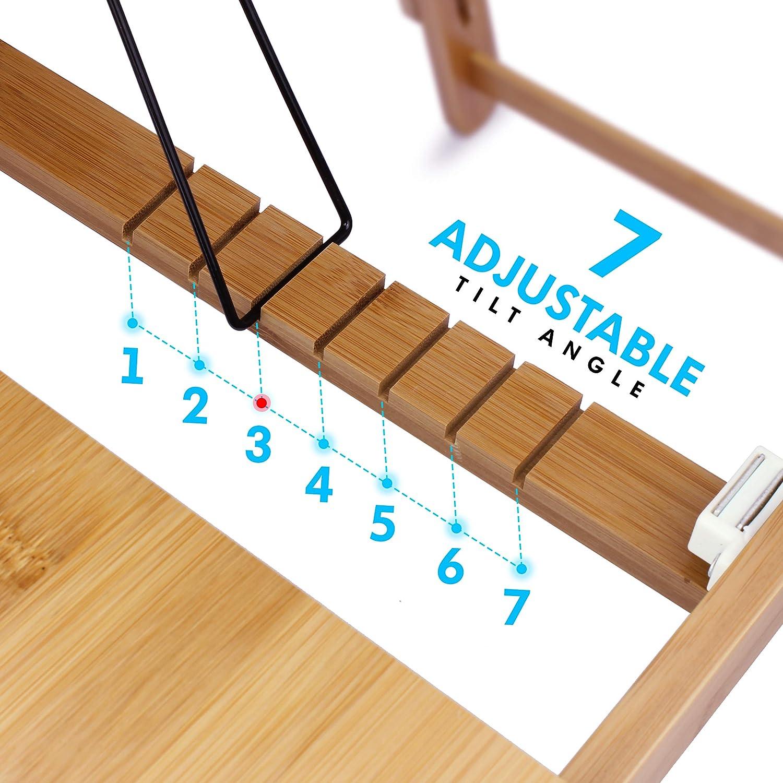 CURVAN Table de Lit Pliable Plateau pour Lit Sofa Canap/é Manger Lire /Étudier Dessiner Table R/églable Bambou 58x38x31cm Table Pupitre pour Ordinateur Portable Sculpt/é Tapis de Cadeau