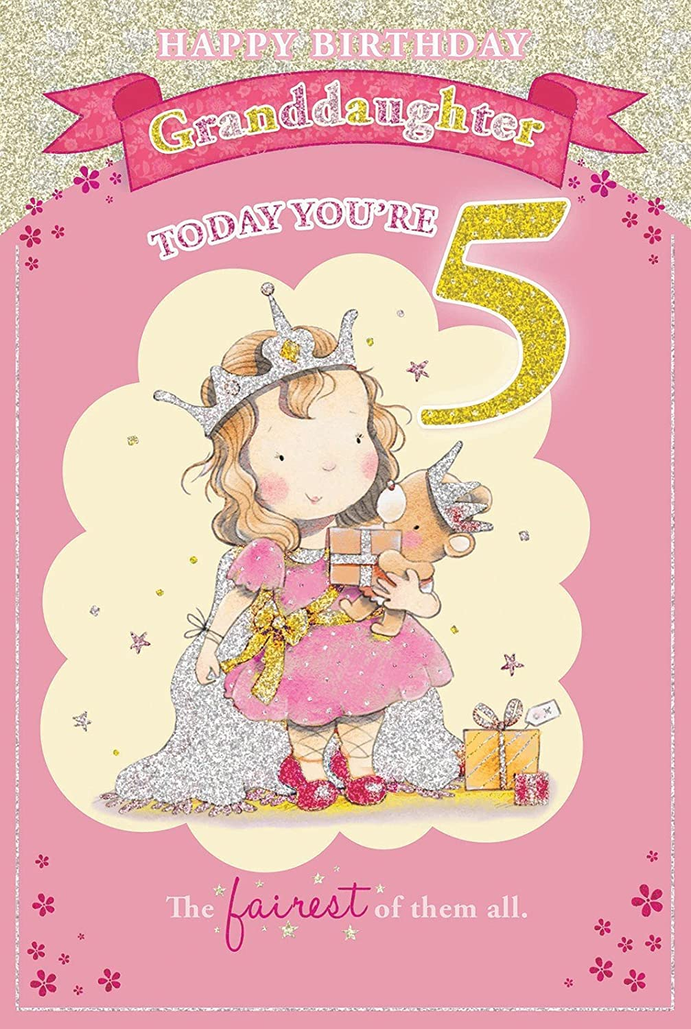 Granddaughters 5th birthday card 5 today little princess granddaughters 5th birthday card 5 today little princess holding gift 9 x 6 amazon toys games bookmarktalkfo Image collections