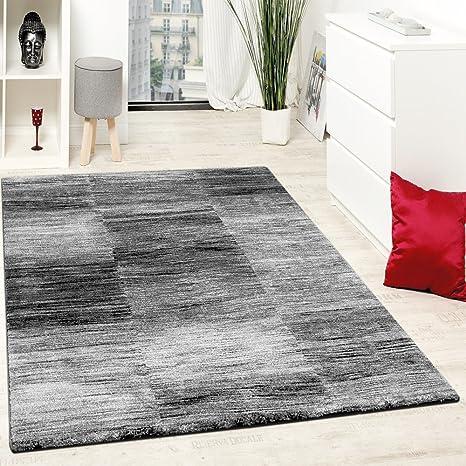 Paco Home Designer Teppich Modern Wohnzimmer Teppiche Kurzflor Karo Meliert Grau Schwarz Grösse240x320 Cm
