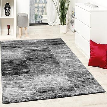 GroBartig Paco Home Designer Teppich Modern Wohnzimmer Teppiche Kurzflor Karo Meliert Grau  Schwarz, Grösse:120x170