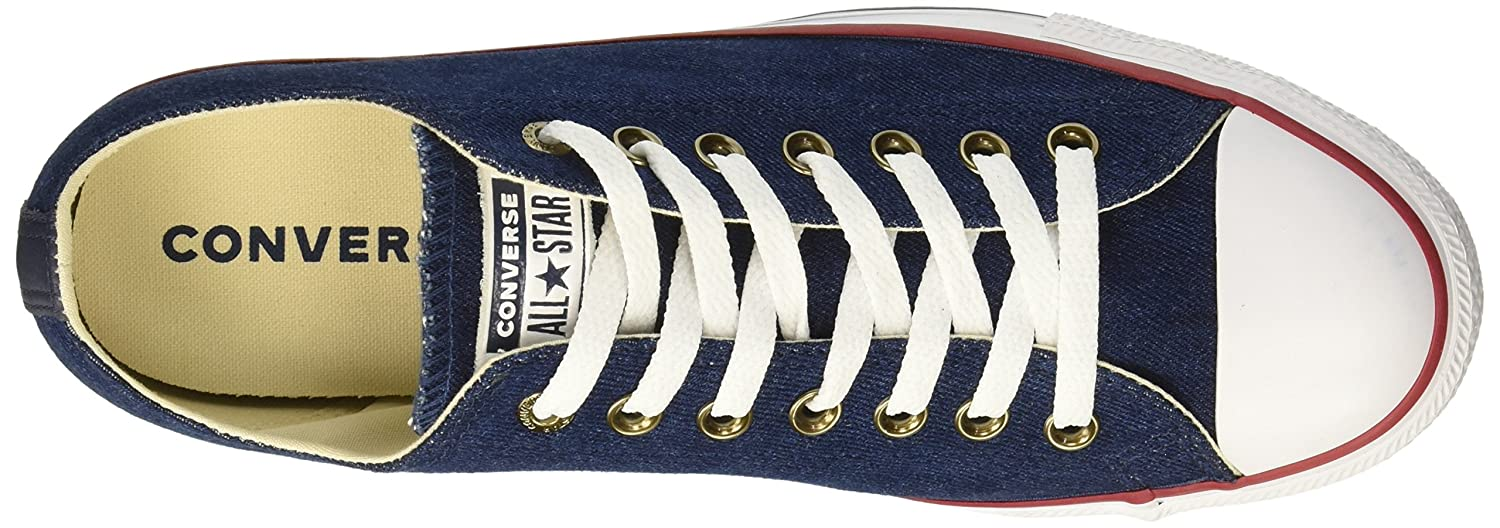 Converse Chuck Taylor All Star Denim Low Top Sneaker B078NH2SRM 3.5 M US|Dark Blue/Natural Ivory/White