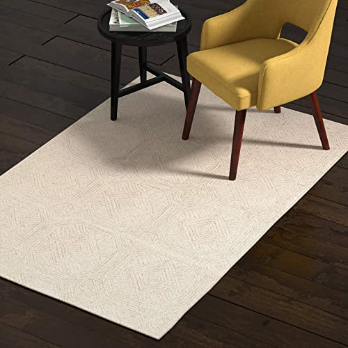 Rivet Geometric Wool Area Rug, 4 x 6 Foot, Grey, Ivory