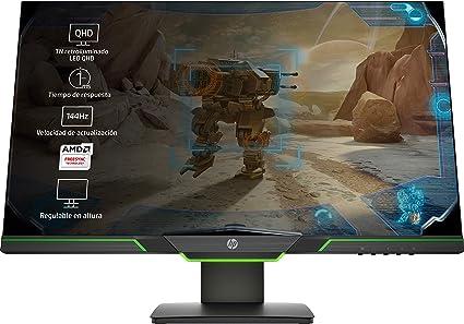 HP 27xq - Monitor gaming con pantalla Quad HD (2560 x 1440 a 60 Hz), TN 1ms, AMD FreeSync, 144 Hz, Negro/Verde, 27