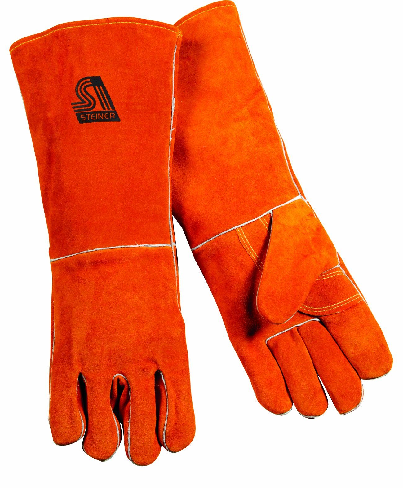Steiner 21918-L Welding Gloves, Brown Y-Series 18-Inch Length Shoulder Split Cowhide, Foam Lined, Large