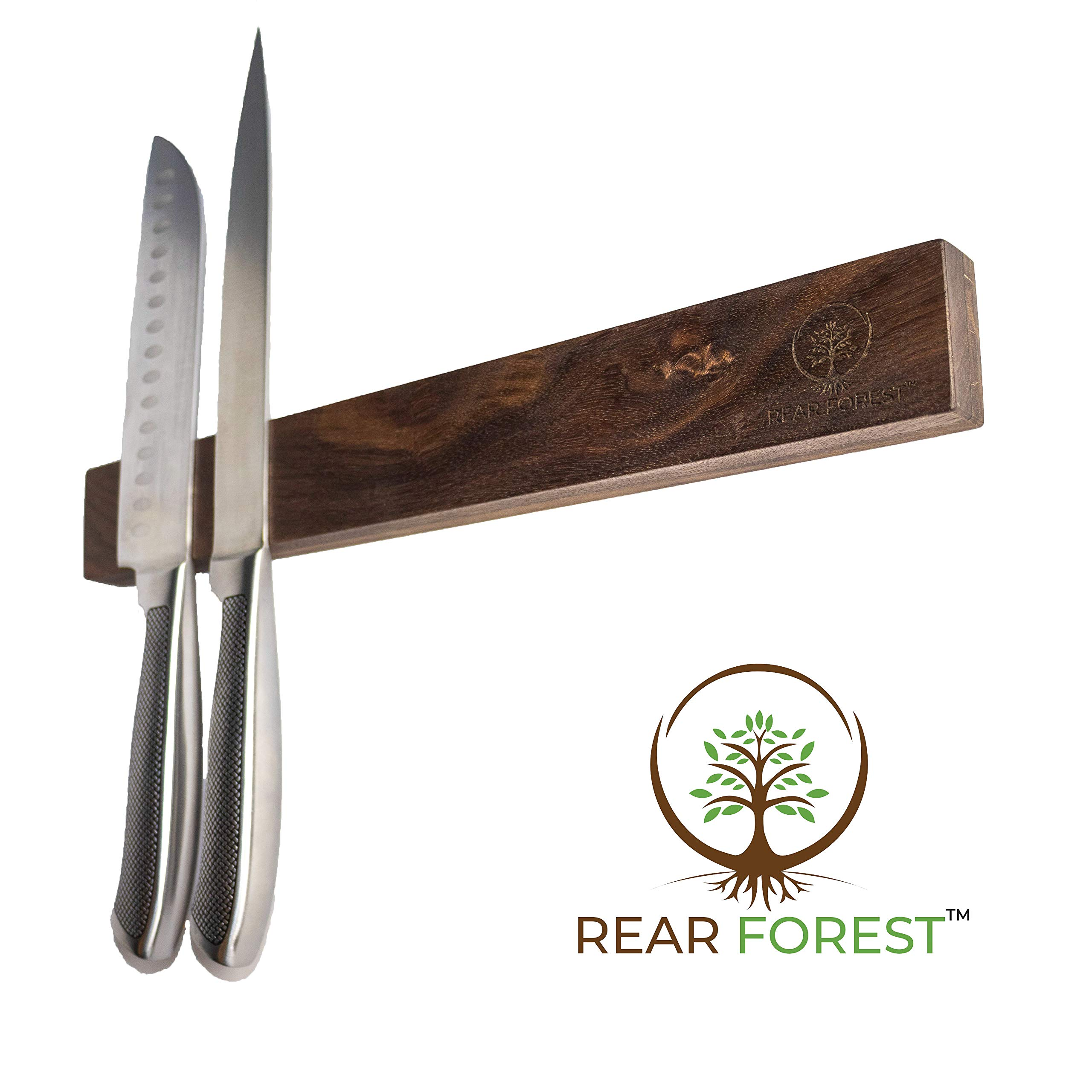 Walnut Magnetic Knife Strip | RearForest | Multipurpose Storage for Any Metal Items | Powerful Magnetic Bar in Premium Walnut Hardwood | Easy Installation on Any Surface | 18 Inch by Rear Forest