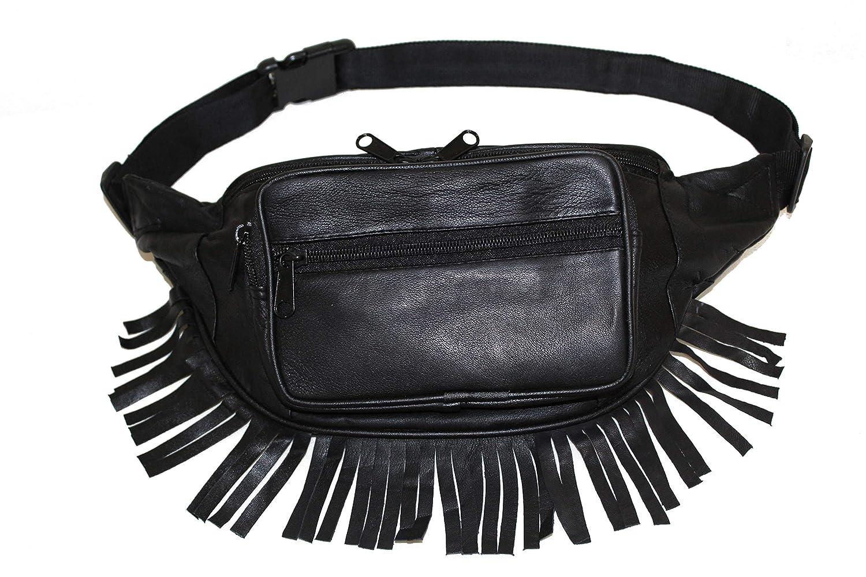RFID Safe Soft Leather Fanny Pack Music Festival Fur Fringe Hip Bum Bag Moon Belly Purse Travel Organizer Wallet