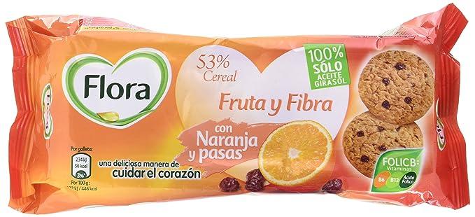 Flora - Galletas Fruta-Fibra Naranja, 125 g - [Pack de 8]