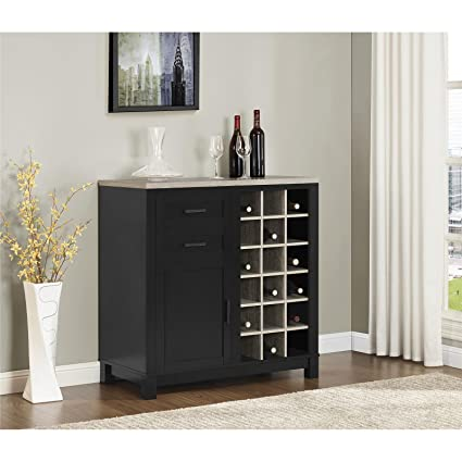 Wine Bar Cabinet With 18 Open Bottle Cubbies 2 Spacious Drawers 1 Door