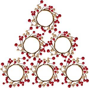 DearHouse 6 Pcs Christmas Votive Candle Holder Rings with with Red Gold Berry Candle Ring, Decorative Glass Tealight Candle Holder for Home, Wedding, Living Room and Bedroom Decor