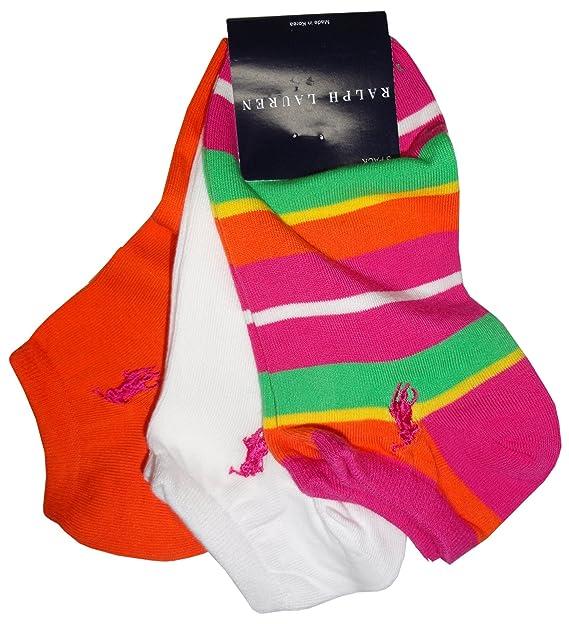 Calcetines de Ralph Lauren para mujer rosa diseño a rayas Multicolor, naranja y blanco (