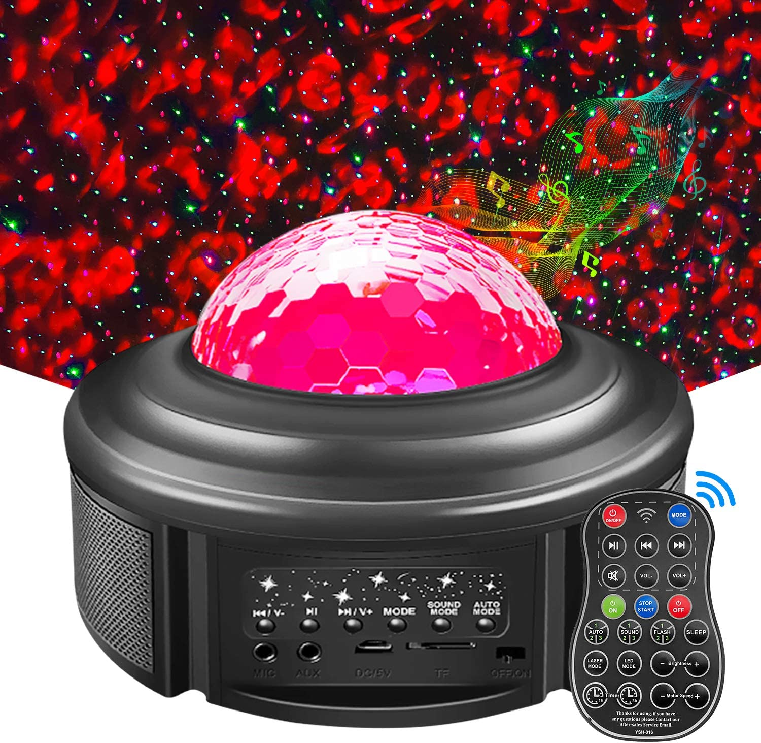 Galaxy Night Light Projector, 2 in 1 Ocean Wave/Starry [43 Modes] LED Nebula Cloud Lights Built-in Music Speaker/Remote Control/Timer Star Ambiance Lamp for Baby Kids Bedroom/Game Rooms/Home Theater