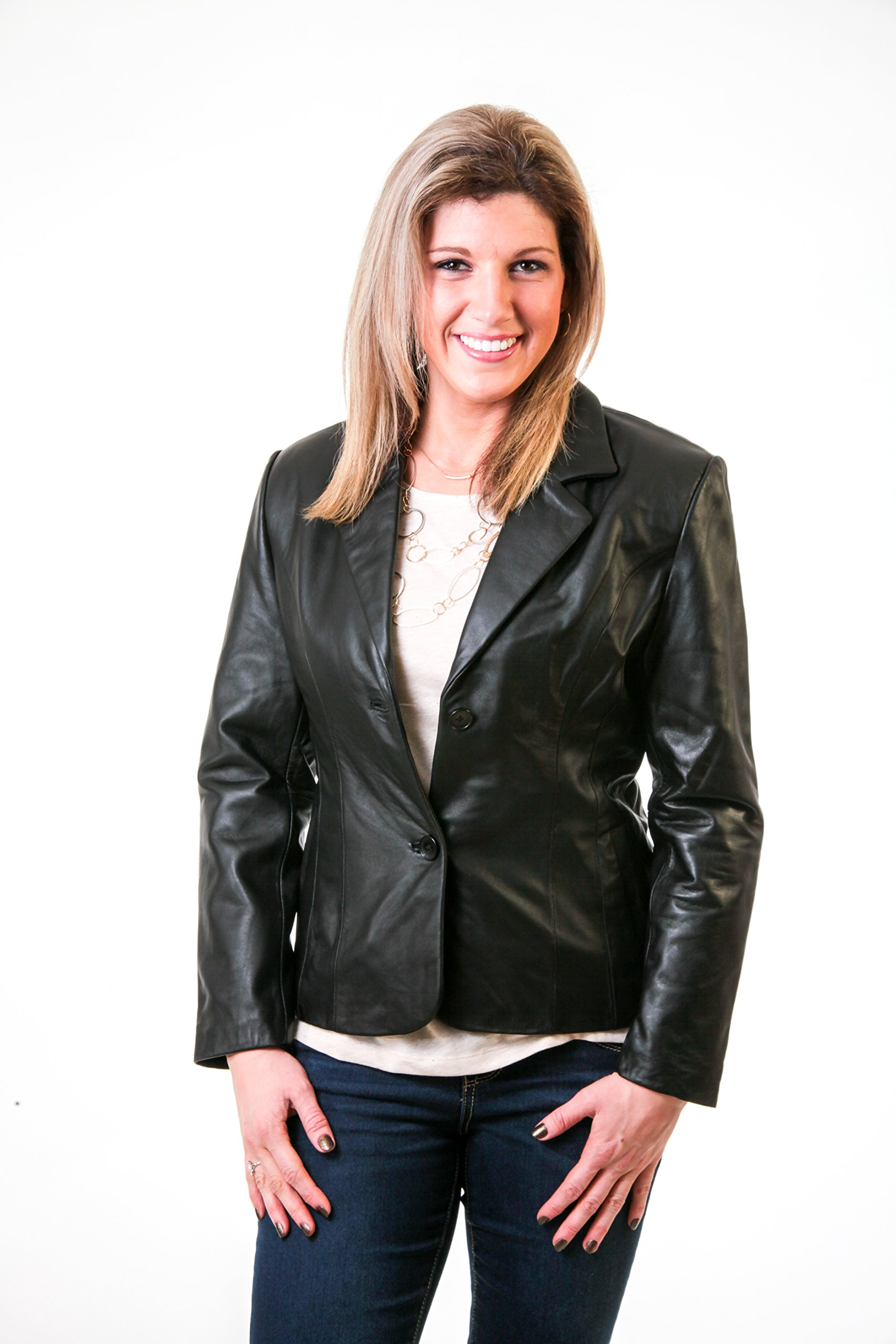 Lee Cobb Women's Genuine Smooth Lambskin Leather Blazer Jacket Button up size 6 by Lee-Cobb (Image #2)