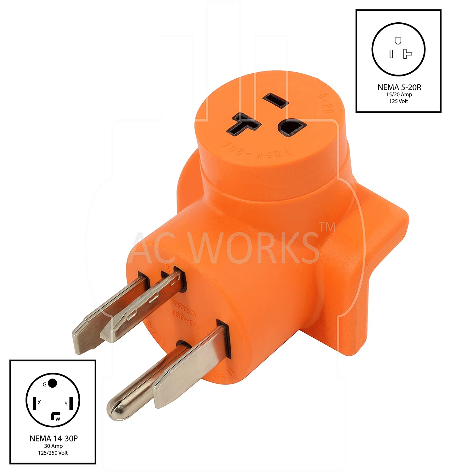 Ac Works Ad1430520 Plug Adapter Nema 14 30p 30amp Dryer Outlet To 20r Wiring Diagram Household 15 20amp T Blade Female Connector Standard Outlets Amazon Canada