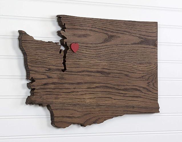 Amazoncom Washington State Shape Wood Cutout Sign Wall Art In Oak