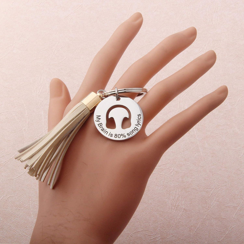 SEIRAA Singer Gift Music Keychain Gift for Music Lover My Brain is 80/% Song Lyrics Keychain Gift for Her