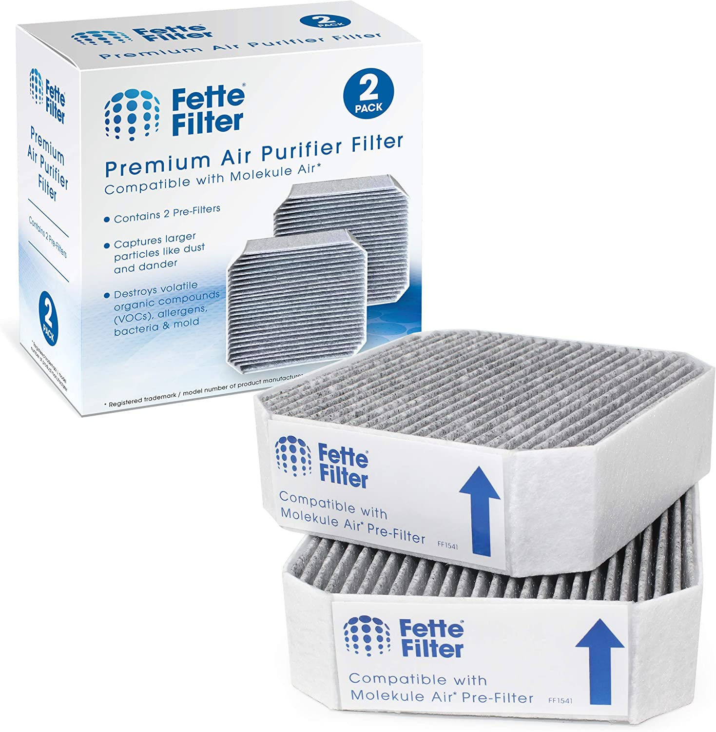 Fette Filter - 2-Pack Premium Replacement Carbon HEPA Pre-Filters Compatible with Molekule Air-PRE Filter (Not Mini) PECO Air Purifiers