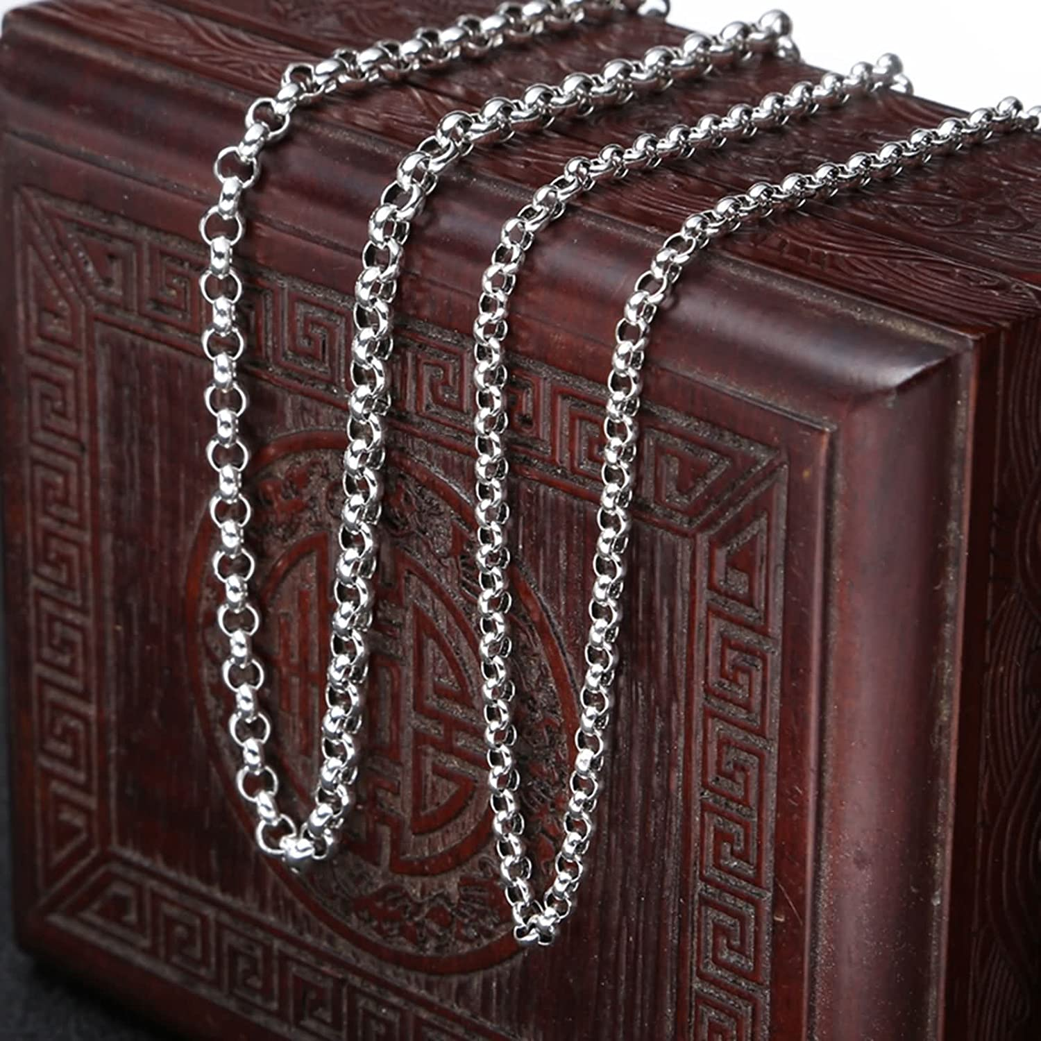 KnSam Belcher Chain for Men Women S925 Silver Classic Necklace W3-4mm x L18-32 Inches