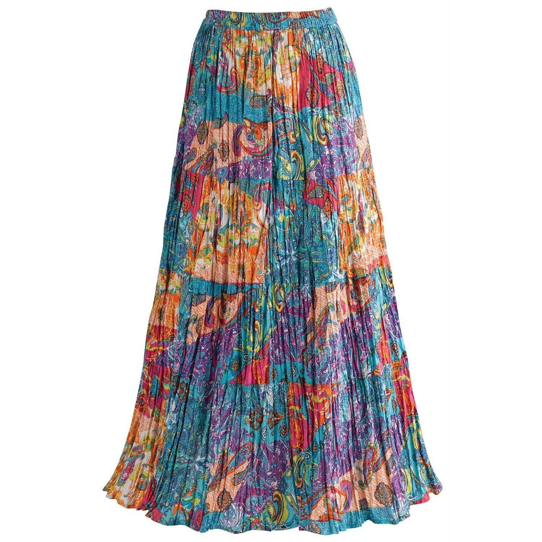 CATALOG CLASSICS Women's Boho Crinkle Maxi Skirt - Peasant Floral Paisley Print - 2X