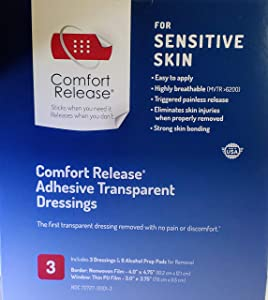 """Comfort Release® Transparent Film Dressing, Waterproof, Breathable, Pain-Free Removal, Shower Field 4"""" X 4.75"""" Box of 3"""