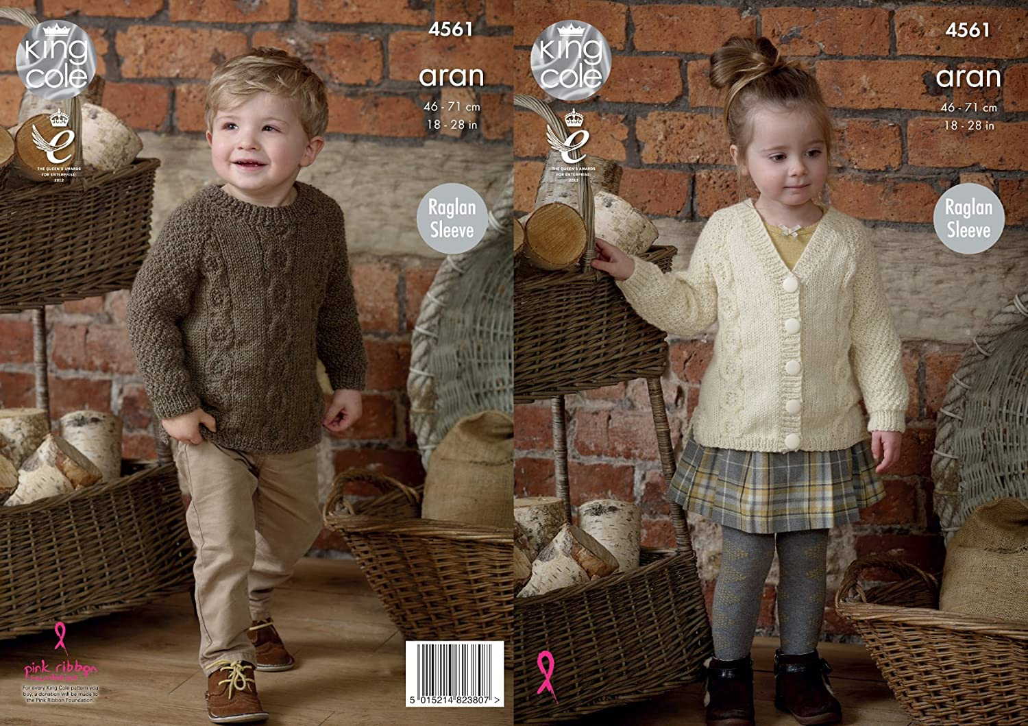 King Cole Childrens Knitting Pattern Raglan Sleeve Tunic & Cardigan Fashion Aran (4561)