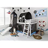 Noa and Nani - Midsleeper Cabin Bed with Slide and Pirate Hideaway Tent, Tower, Tunnel and Bed Tidy - (White)