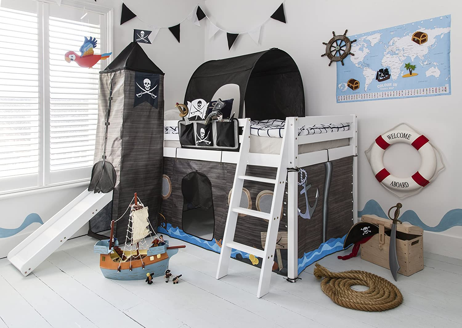 Cabin Bed with Slide Midsleeper Kids Pirate Hideaway with Tent, Tunnel, Tower & Tidy Noa & Nani (White) Noa and Nani