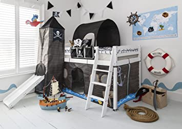 Etagenbett Zelt : Hochbett mit rutsche midsleeper kids pirat hideaway zelt