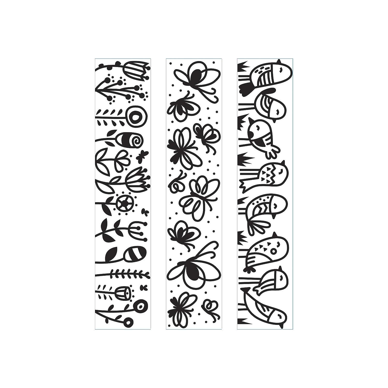 Darice Embossing Folder A6 Template Rows of Birds Butterflies Flowers Transparente