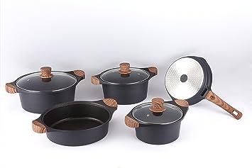 Batería cocina piedra 8 Piezas Royalty Line con mango de madera sintética - negro: Amazon.es: Hogar
