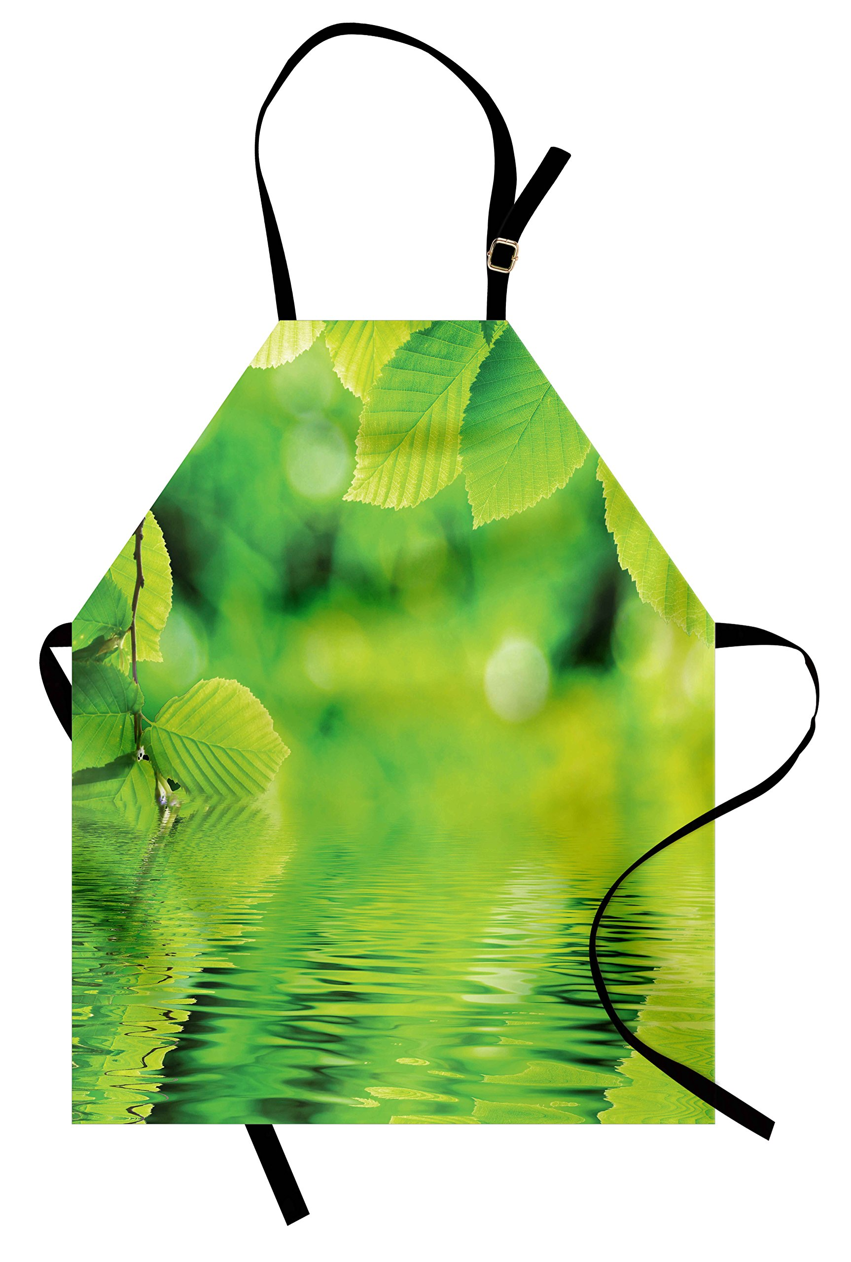 Ambesonne Leaves Apron, Leaves in Water Spa Open Your Chakra with Nature Meditation Ecological Monochrome Photo, Unisex Kitchen Bib Apron with Adjustable Neck for Cooking Baking Gardening, Green