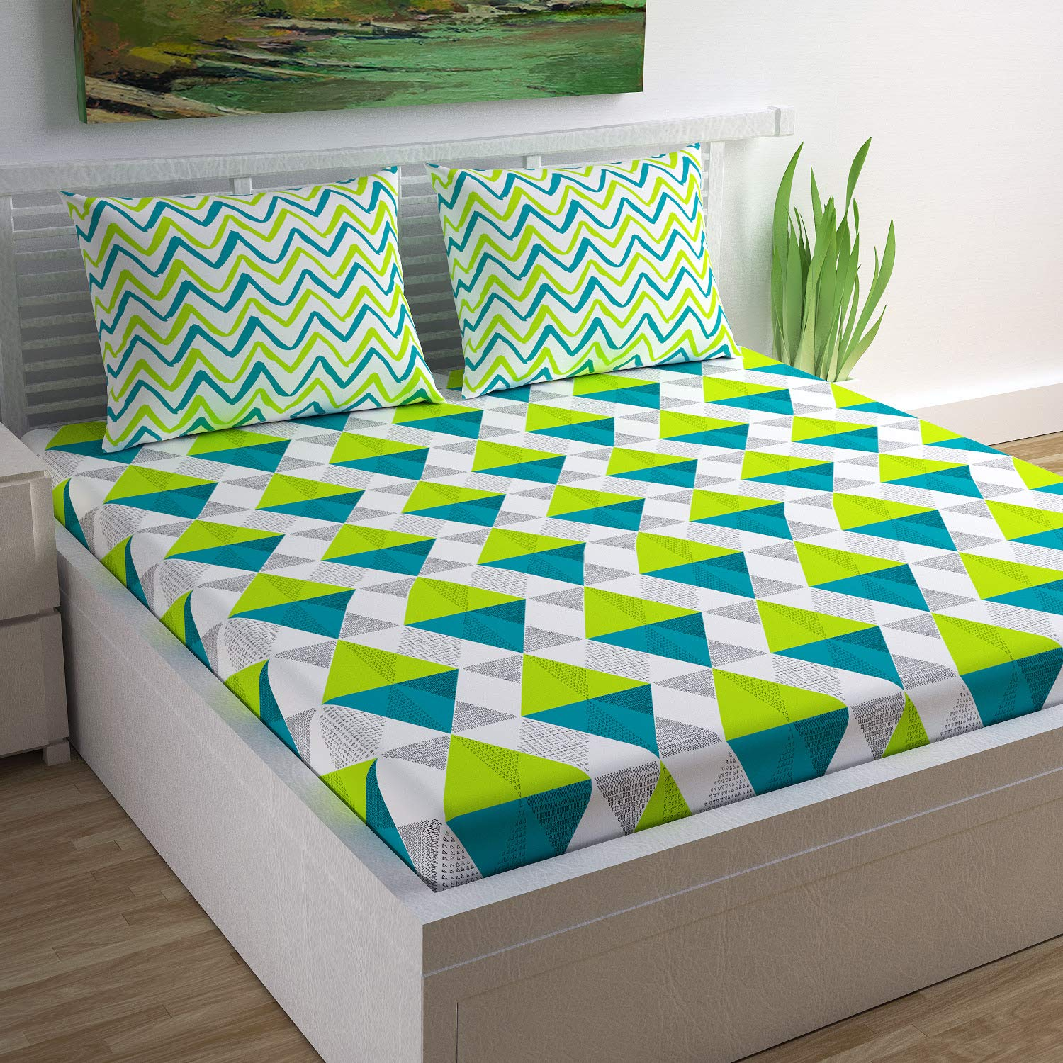 Divine Casa, 100% Cotton Geometric Print Mix N Match Bed sheet for Double Bedsheet (Lime, Teal and Off White)