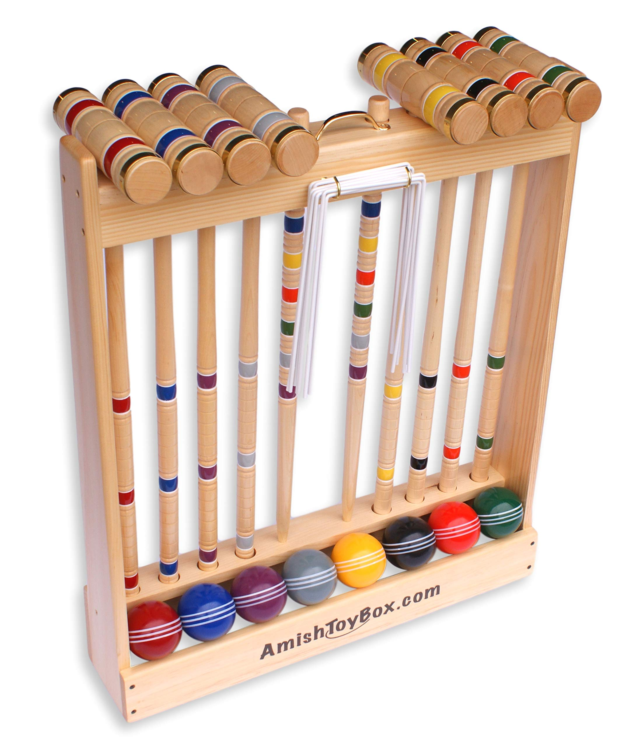 Amish Crafted Deluxe Croquet Game Set, 8 Player (28'' Handles) by AmishToyBox.com