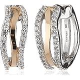 Esprit Damen-Creolen 925 Sterling Silber rhodiniert Zirkonia ESCO91808A000