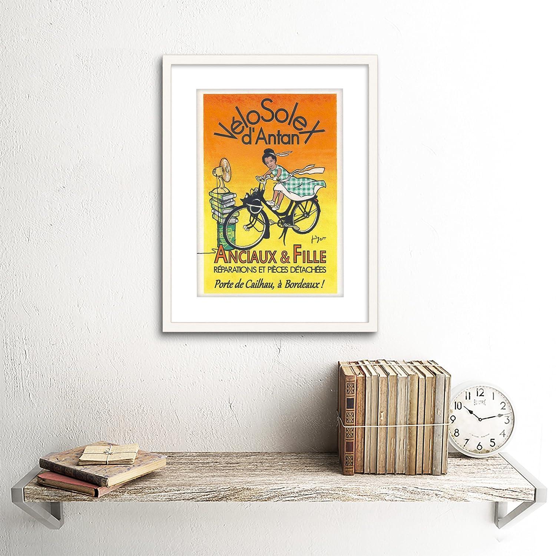 ADVERT BICYCLE ANCIAUX FILLE BIKE BORDEAUX VELOSOLEX FRAMED ART PRINT B12X5500