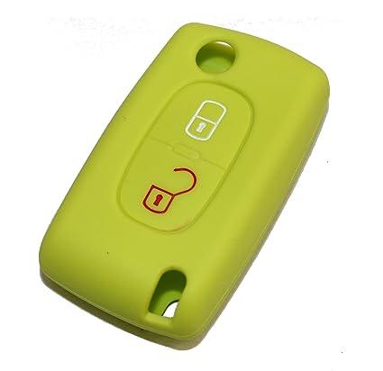 Carcasa llave de silicona para coches 2 teclas VERDE ACIDO ...