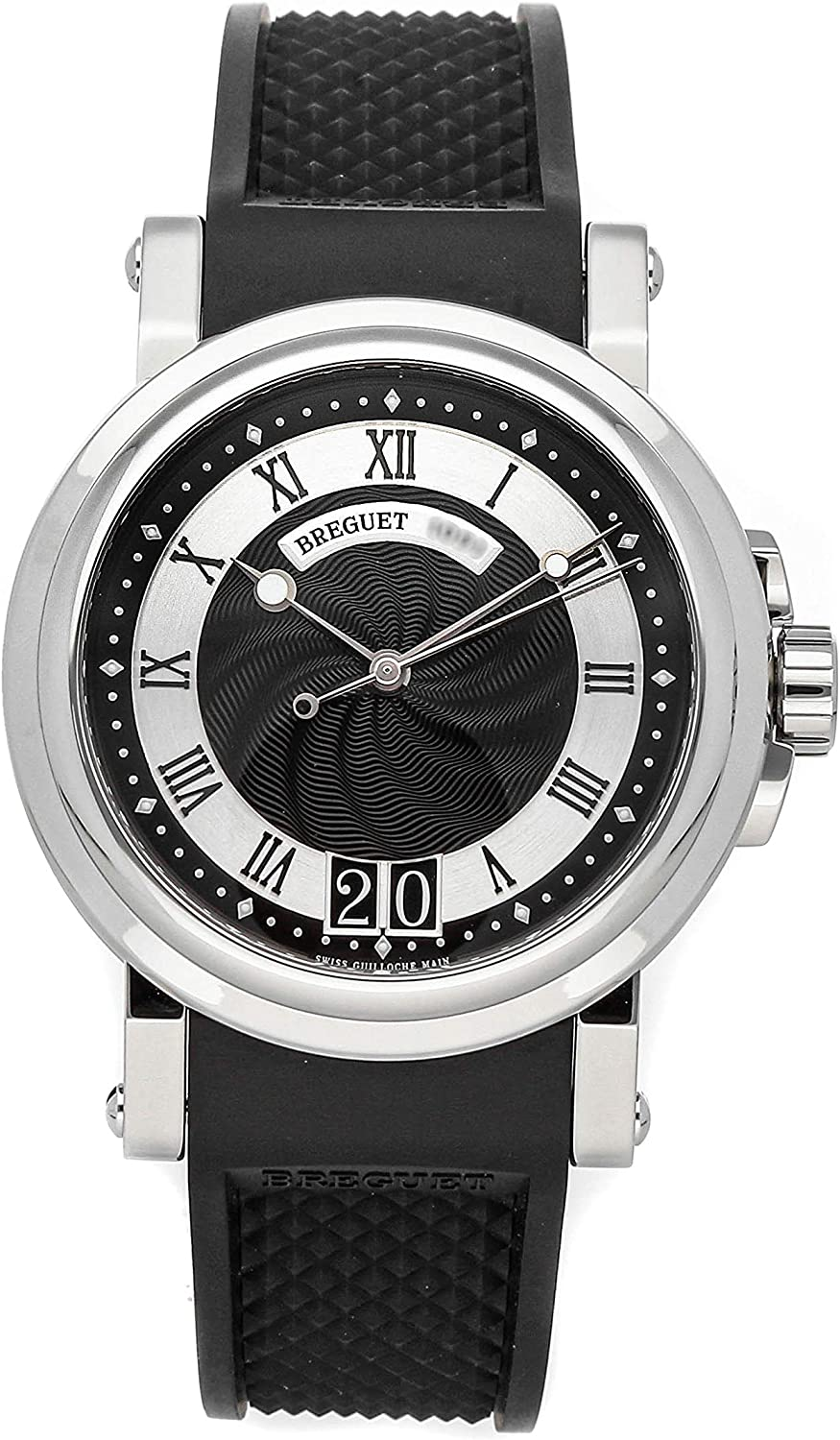 Breguet Marine Automatic Black Dial Black Rubber Strap Mens Watch 5817ST925V8