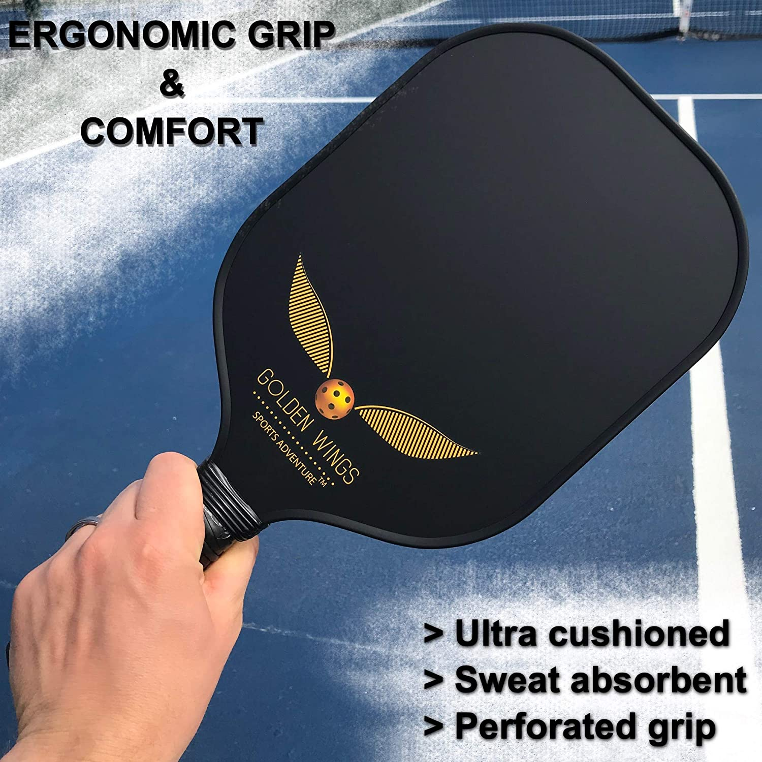 Amazon.com : Pickleball Paddle Set Of 2 - Graphite Pickleball Racket + 4 Pickle Balls - Composite Fiberglass Pickleball Paddles Bundle Honeycomb Core Pickle ...