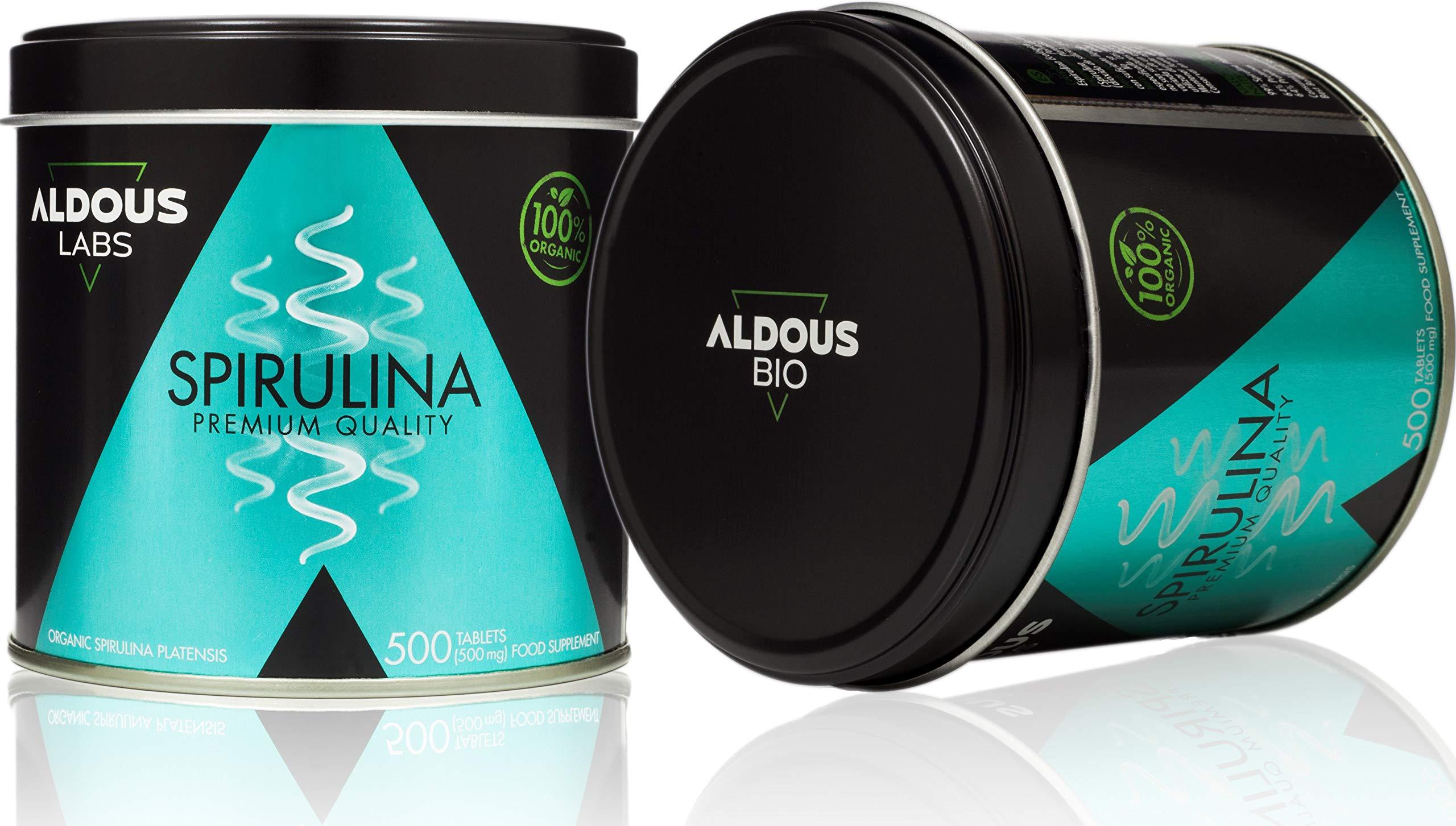 Spiruline biologique Premium - 165 jours de traitement - 500 comprimés de 500 mg - Protéine végétale rassurante - DETOX - Zéro plastique - Certifié Bio