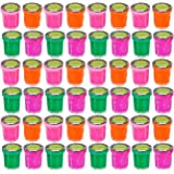 Bedwina Bulk Pack of 48 ! Mini Noise Putty Containers Assorted Neon Rainbow Colors, Party Favor, Treat Goody Pack, Party Prank