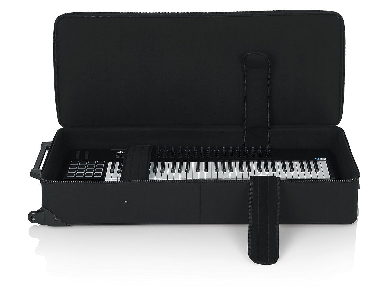 GATOR GK-61 - Estuche para piano y teclado, 49,5 x 123,5 x 22,5 cm (con ruedas), color negro