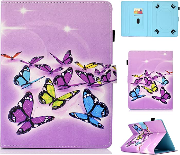 "Universal 10"" Tablet Case, Techcircle Folio PU Leather Wallet Stand Cover with Card Slots for iPad Air 1/2/3, Galaxy Tab A 10.1/Tab S4 10.5/Tab E 9.6, Fire HD 10, Lenovo Tab 10, Purple Butterflies"