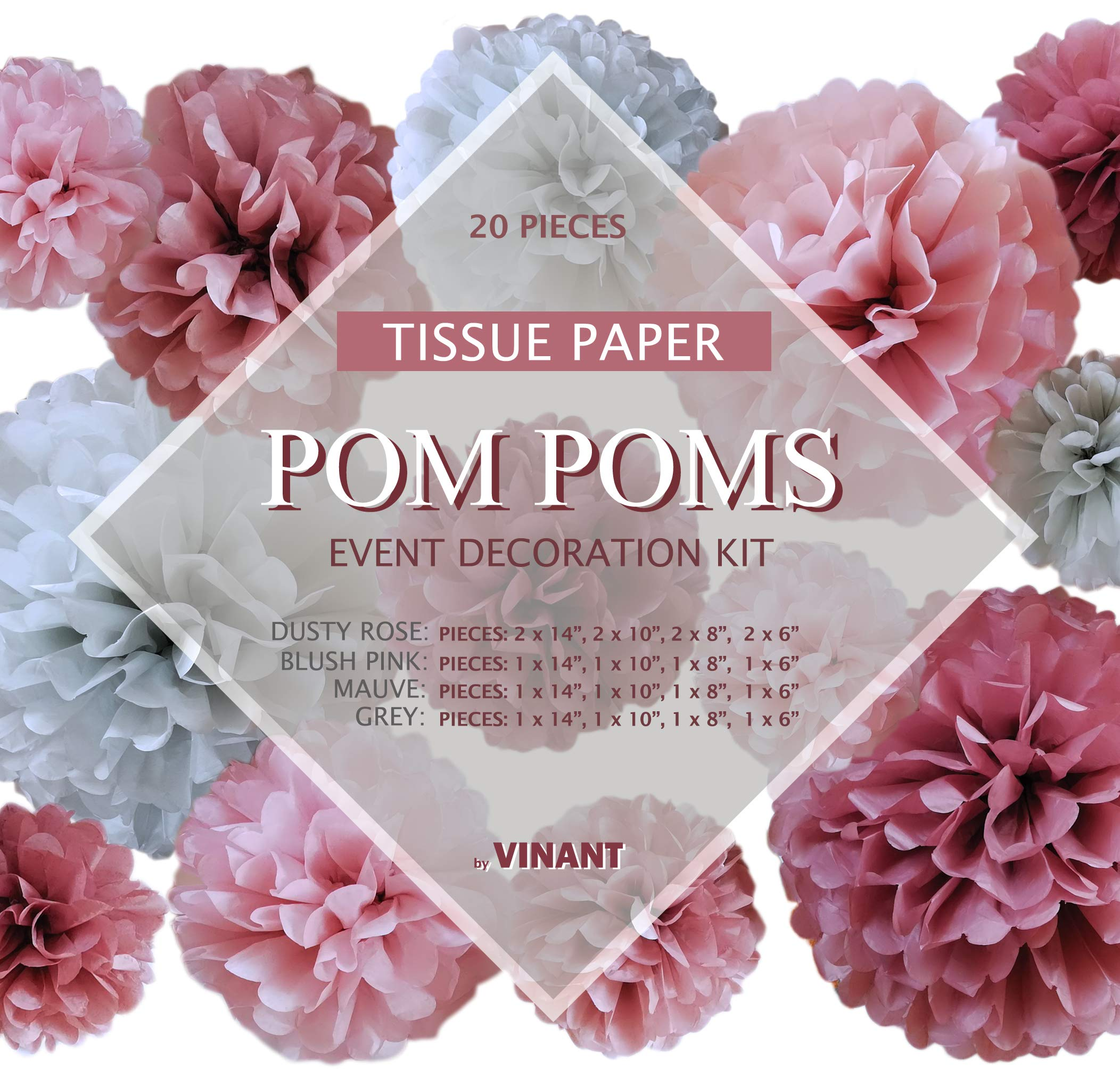 VINANT 20 PCS Tissue Paper Pom Poms - Paper Flower - Party Decoration for Birthday Party - Baby Shower - Bridal Shower - Wedding - Bachelorette - Dusty Rose, Mauve, Blush Pink, Grey - 14'', 10'', 8'', 6'' by VINANT (Image #2)