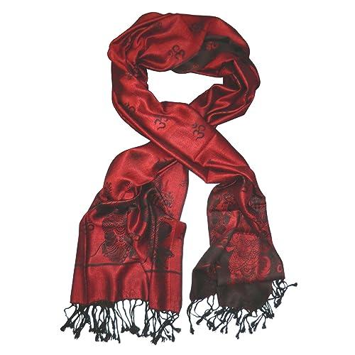 Pañuelo Himalaya Ganesha rojo negro viscosa fular chal bufanda acesorio