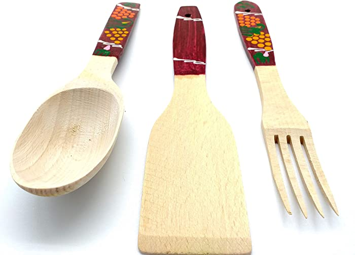 Wood Cooking Utensil Set of 3 - Wooden Forks and Spoons for Eating - Unique Pattern Burned Wooden Spoons - Hand Carved Wooden Spoons Wooding Spoon Set - Wooden Spoon and Fork Wall Decor by KIBS group