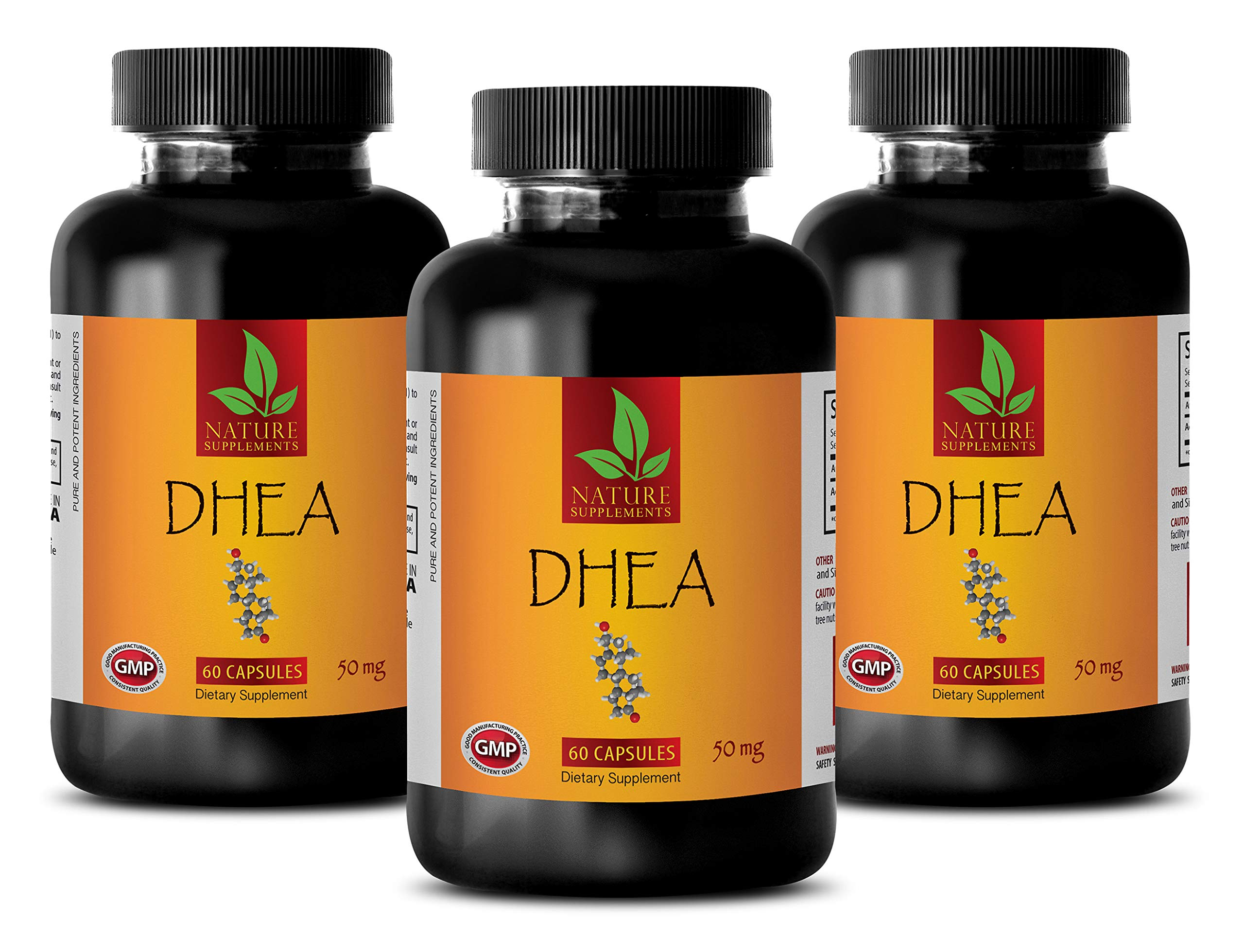 Natural Energy Supplements for Women - DHEA 50MG - libido Booster for Men - 3 Bottles (180 Capsules)