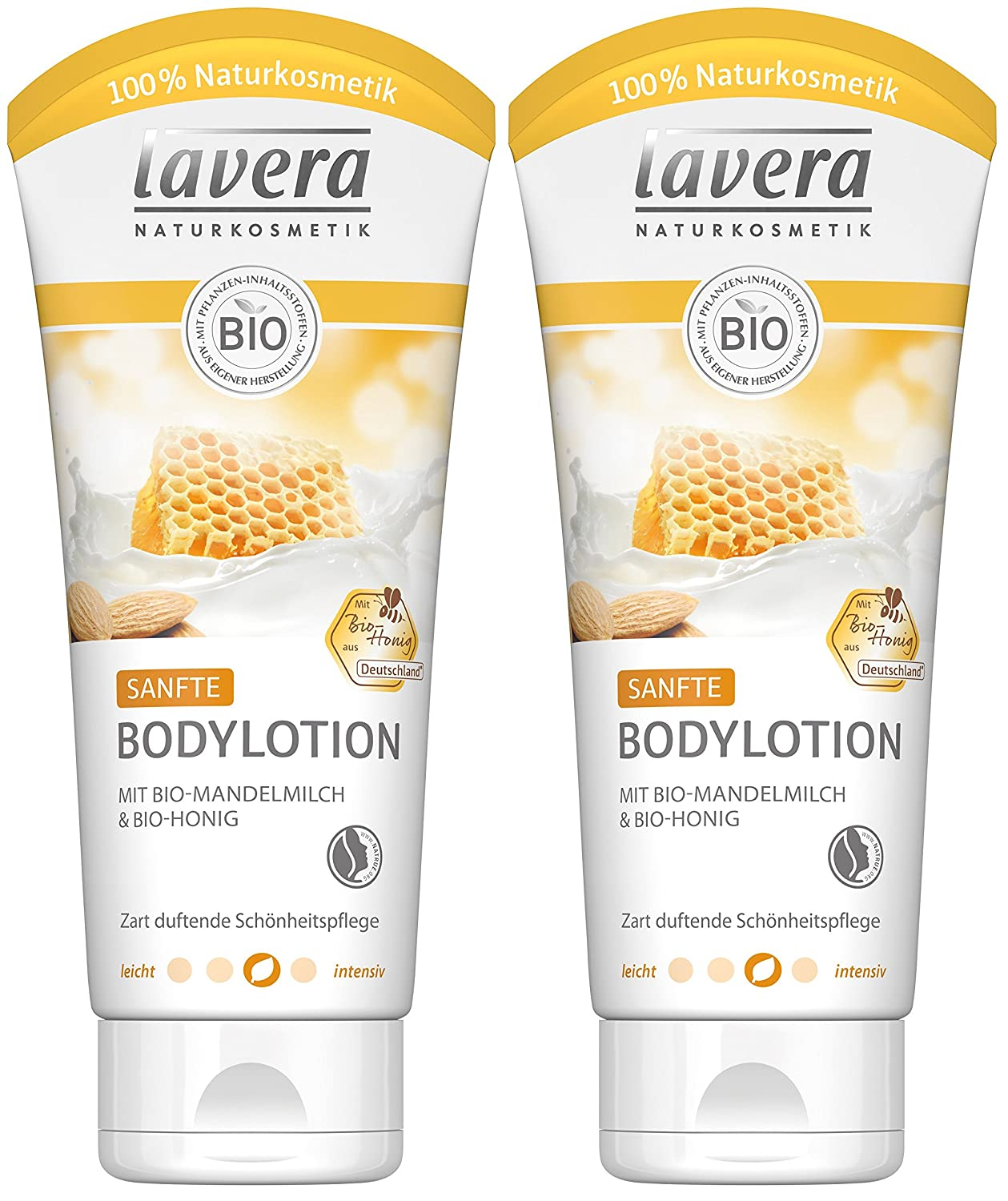 Lavera Body Lotion leche de almendras y miel orgánica orgánica, 2-pack (2 x 200 ml): Amazon.es: Belleza